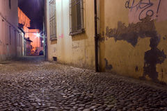 Dark alley. Dirty alley at night in the city with pavement of porphyry cobblestones Stock Images