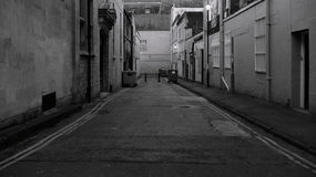 Dark Alley. Deserted Dark Alley at Night in Inner City London stock photos