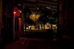 Dark alley and a brothel at Athens. Metaxourgeio Royalty Free Stock Images