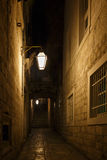 Dark Alley. A dimly lit alley at night, could be from medieval times stock images