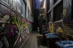 Dark alley with graffiti Royalty Free Stock Photography