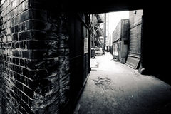Dark alley inner city Royalty Free Stock Photos