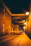 Dark alley at night in Hanover, Pennsylvania. Stock Photos
