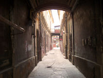Dark alley in old city Royalty Free Stock Image