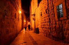 Dark alley in the old city in Jerusalem Royalty Free Stock Photo