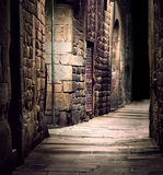 Dark alley. In old part of town royalty free stock photos