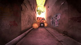 Dark alley in the old town stock video footage