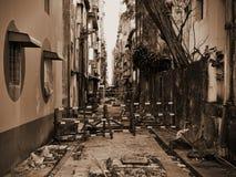 Dark Alleyway. View a Dark Alleyway in Yangon in Burma Royalty Free Stock Photo