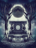 Dark altar and moon eclipse Stock Photo