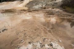 Dark amber geothermal pools over travertine rock, Yellowstone Na Stock Photo