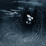 Dark fallen angel. Wings , feathers falling, gothic style vector illustration
