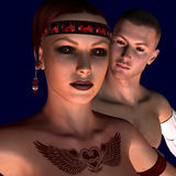 Dark Angel. 3d rendering of woman and man with red eyes as illustration Royalty Free Stock Photos