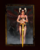 Dark Angel. A fallen angel with horns and wings keep a golden sword Royalty Free Stock Photos