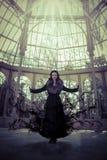 Dark angel.Beautiful woman in winter.Beauty Fashion Model Girl i Royalty Free Stock Photography