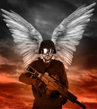 Dark angel with big wings stock photo