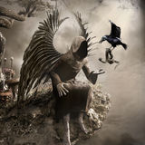Dark angel and a crow royalty free illustration