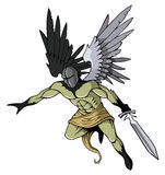 Dark angel. Angel of death with sword, flying, vector illustration Royalty Free Stock Photos