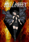 Dark Angel Firey Halloween. This background was created with a firey looking background and a black diamond shape added. Then a beautiful and dark angel was royalty free illustration