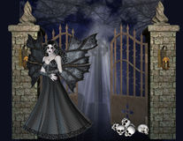 Dark Angel at the Gate Background. A dark gothic or Halloween background design. A dark vampire angel waiting by the gate with skulls laying by her. This is stock illustration