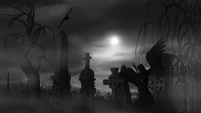 Dark Angel at a graveyard on a foggy night with full moon Stock Images