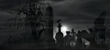 Dark Angel at a graveyard on a foggy night with full moon. Illustration of a Dark Angel at a graveyard on a foggy night with full moon and three skeletons Stock Photography