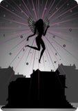 Dark Angel Soaring Over Houses Stock Photo