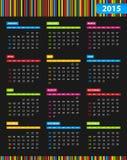 Dark annual 2015 Calendar with bright stripes in b Stock Photo