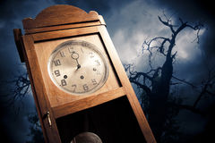 Dark antique clock at night Royalty Free Stock Photography