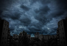 Dark apocalyptic view of a city. At night Stock Images