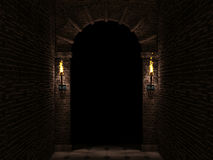 Dark arch. Medieval castle arch with columns and torches 3d illustration Stock Photos