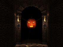 Dark arch and pumpkin. Medieval castle arch with columns and halloween pumpkin.3d illustration Royalty Free Stock Images