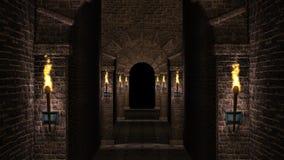 Dark arches corridor stock footage