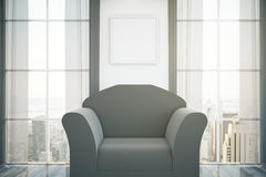 Dark armchair. In room with blank picture frame on wall, two windows with curtains and city view. Mock up, 3D Rendering Stock Photos