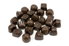 Dark assorted chocolate pralines Royalty Free Stock Photo