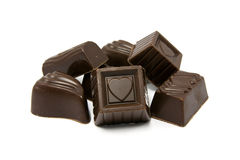 Dark assorted chocolate pralines Royalty Free Stock Photography