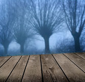 Dark atmosphere and empty wooden deck table. Stock Photo