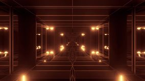 Dark atmospheric science-fiction tunnel corridor with glowing lights and reflective glass windows 3d illustration motion