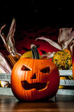 Dark autumn composition with scary pumpkins Stock Photography
