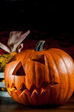 Dark autumn composition with scary pumpkins Royalty Free Stock Photo