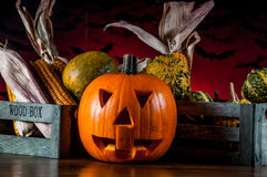 Dark autumn composition with scary pumpkins Royalty Free Stock Image
