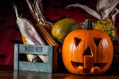 Dark autumn composition with scary pumpkins Royalty Free Stock Photography