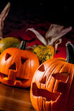 Dark autumn composition with scary pumpkins Stock Photo