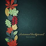 Dark autumn vector background. Vertical ornament of autumn leaves on the dark blue background Stock Illustration