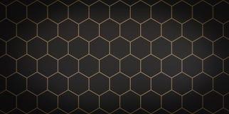 Dark background of black cells with gold stroke - 3D illustration stock illustration
