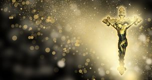 Orthodox cross on an abstract background, bokeh, rays of light. On a dark background bokeh, with gold dust, the cross is orthodox Stock Illustration