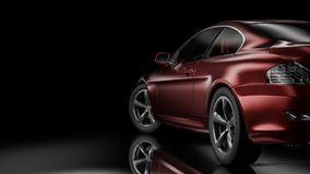 Dark car silhouette 3D illustration. Dark background with car silhouette on right side. 3d Illustration Stock Images