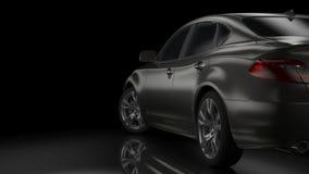 Dark car silhouette 3D illustration. Dark background with car silhouette on right side. 3d Illustration Royalty Free Stock Photo