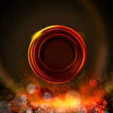 Dark background with circle label, fire colors Royalty Free Stock Image