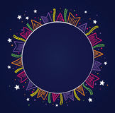 Dark background with colored flags. Drawing around a circle with space to place text. To use on birthday cards and general parties Royalty Free Stock Image