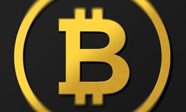 Dark background 3D coin logo bitcoin in gold with shadows. Rendering with shading and high closs golden B symbol concept. Dark bitcoin 3D coin logo illustration Stock Photos